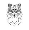 muzzle of a fox line sketch vector image