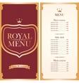 royal menu for a cafe or restaurant vector image