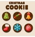 Set Cartoon Chocolate Christmas cookies biskvit vector image