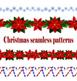 set of n seamless christmas borders vector image