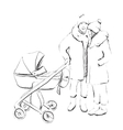 Young married couple walking with they newborn vector image