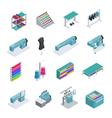 Garment Factory Isometric Icon Set vector image
