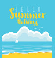 travel banner with beach sea clouds and sailboat vector image vector image