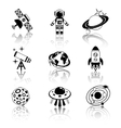 Space icons black and white set vector image