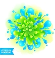 Blue and green paint splash on watercolor vector image