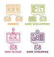 Game related concepts line style vector image vector image