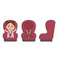 baby in car seat side and front of safety chair vector image