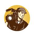 Cameraman Film Crew Pro Video Movie Camera vector image