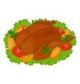chicken fried with vegetables vector image