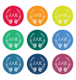 Colorful sale tags with laurel wreath vector image