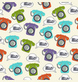 seamless pattern with retro phone vector image