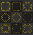 golden vintage frame decoration set vector image