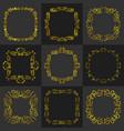 golden vintage frame decoration set vector image