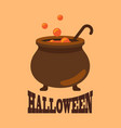 halloween poster with closeup of witch cauldron vector image