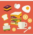 icons set with fresh breakfast food and vector image
