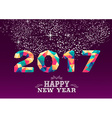 New Year 2017 colorful low poly card design vector image