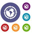 round arrows around world planet icons set vector image
