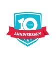 Ten 10 years anniversary sticker  blue 10th vector image