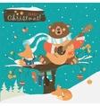 Cute bear and little fox celebrating Christmas vector image