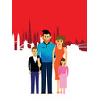 family on a cityscape background vector image