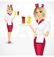 waitress holding a tray with beer glasses vector image