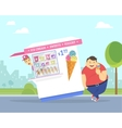 Happy fat man eating ice cream in the park vector image