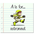 Flashcard letter A is for astronaut vector image