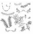 hand drawing floral leaf ornament sketch vector image