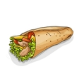 Burrito color picture sticker vector image