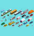 flat 3d isometric city transport icon set taxi vector image