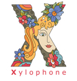 letter X xylophone vector image