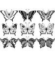 set of nine ornamental butterflies vector image
