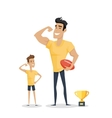 Father and Adorable Son with Basketball Soccer and vector image