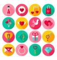 Happy Valentine Day Flat Icons vector image