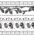 seamless border with feathers and crystals vector image