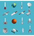 3d Rocket Space Icon Set vector image