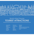 line worlds most popular tourist locations vector image vector image