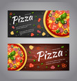 Two Realistic pizza flyer banners vector image