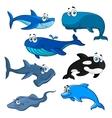 Funny cartoon sea animals characters vector image