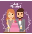Bride groom cartoon and save the date design vector image
