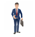 businessman with briefcase shaking hand vector image