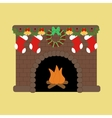 Fire place with christmas decoration vector image