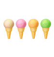 set of ice cream in waffle cones realistic vector image