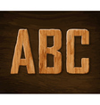Alphabet made of wood ABC vector image vector image
