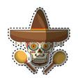 sticker decorative ornamental sugar skull with vector image