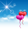 two glossy hearts balloons for Valentine Day vector image vector image