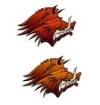Wild boar mascot with big tusks vector image vector image