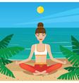 Girl sitting in yoga pose padmasana on the beach vector image