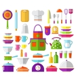 Kitchen flat icons vector image vector image