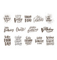 collection of handwritten birthday wishes isolated vector image